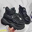 Кросівки, черевики на високій платформі зимові чорні, фото 8