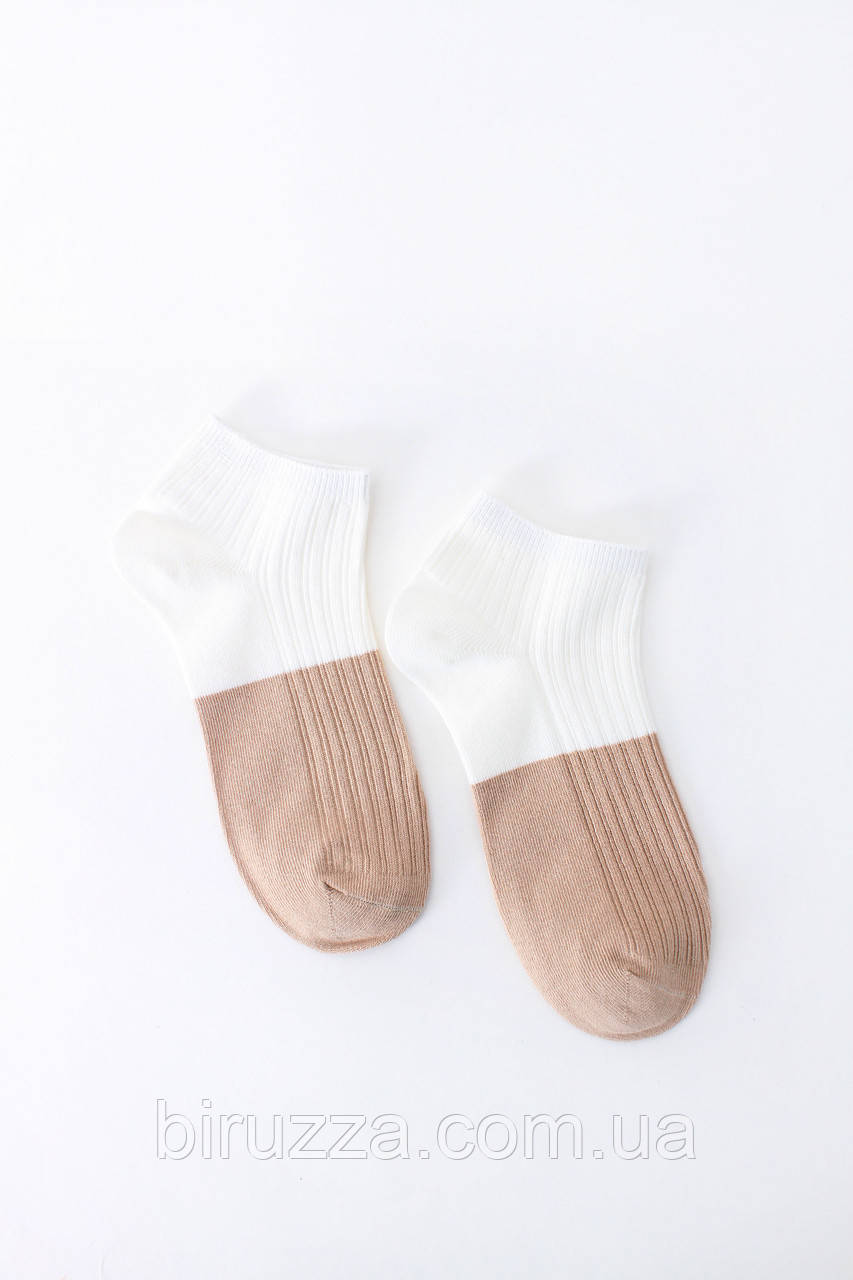 Женские носки FAMO Носочки Терил белый+капучиновый 36-39 (#9232-1)