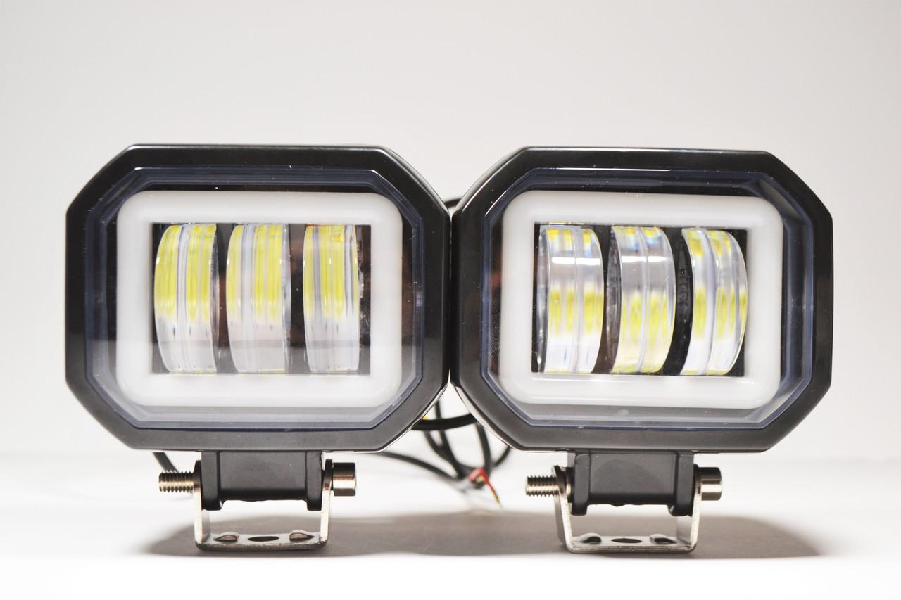 Дополнительная светодиодная LED фара 40Вт квадратная с ДХО Четкой световой теневой границей (Комплект)