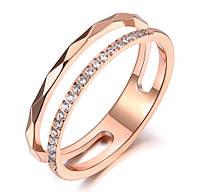 Женское кольцо двойное с фианитами, р. 17.5, 18