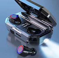 Беспроводные сенсорные TWS наушники в кейсе с павербанком с фонариком с микрофоном Amoi TWS-M12