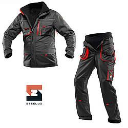 Костюм рабочий защитный утепленный SteelUZ 4S красные вставки Куртка+Брюки (спецодежда, флис)