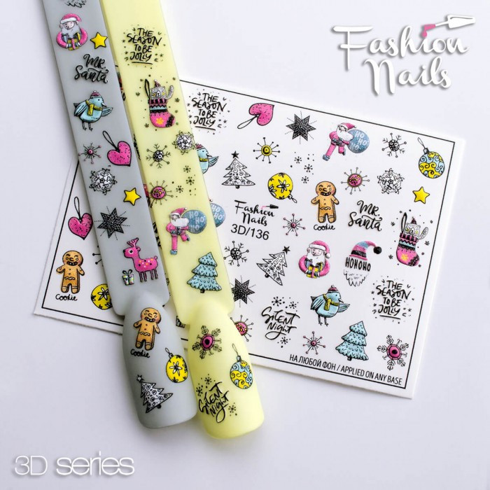 Новогодние наклейки для дизайна ногтей - Объемные 3D Зимние Слайдеры для маникюра водные Fashion Nails 3D/136