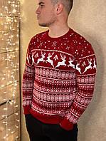 Мужской красный шерстяной свитер с оленями, фото 1
