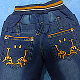 Теплые модные красивые джинсы для мальчика. Утеплитель- флис. Украшение- аппликация., фото 2