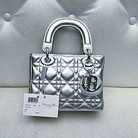 Сумка клатч Dior Lady mini лаковая кожа серебряная