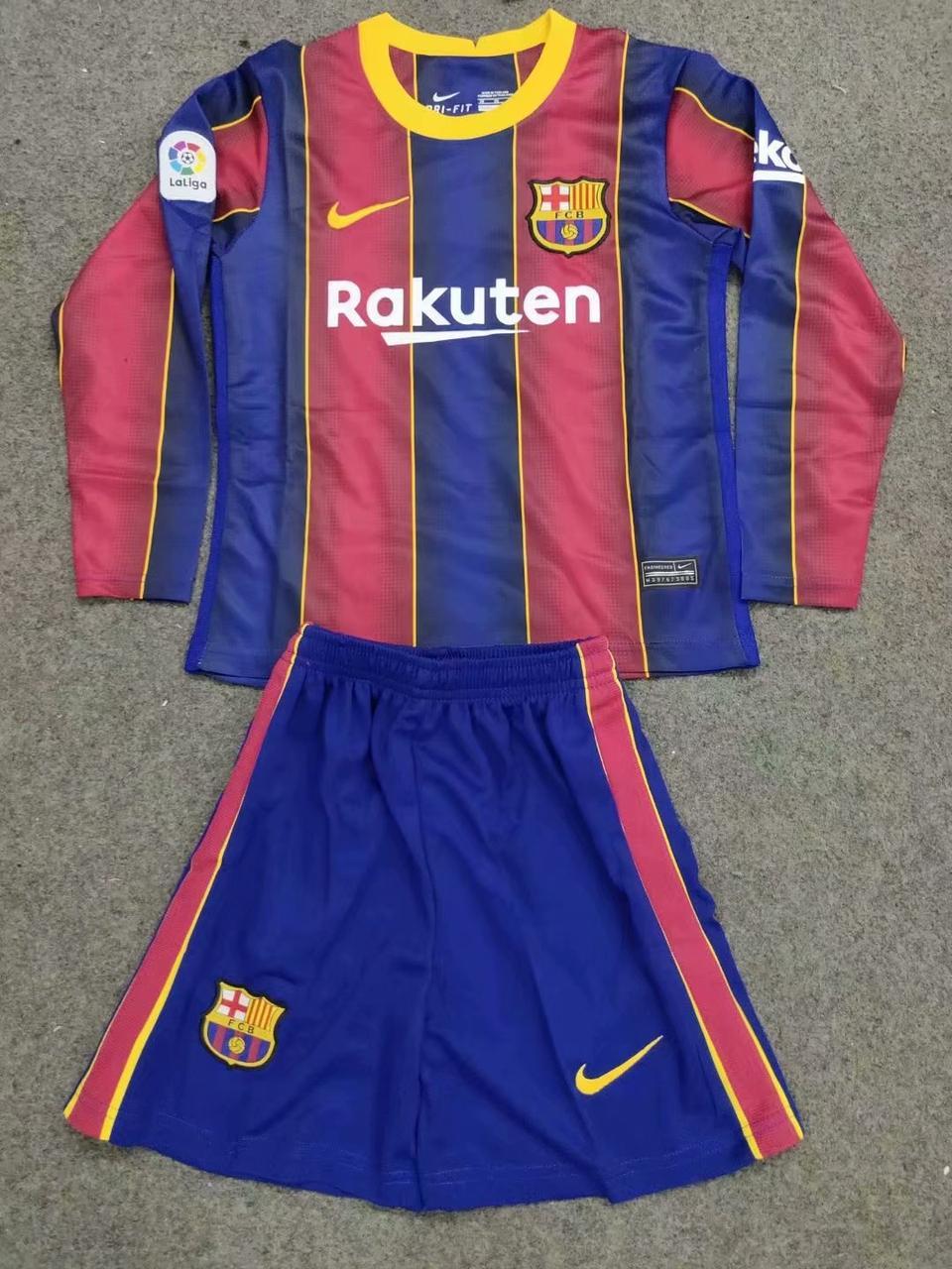 ДЕТСКАЯ футбольная форма Барселона с длинным рукавом , домашняя, сезон 2020-21
