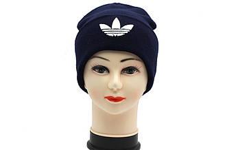 Утепленная вязаная шапка унисекс темно-синего цвета ADIDAS (реплика).