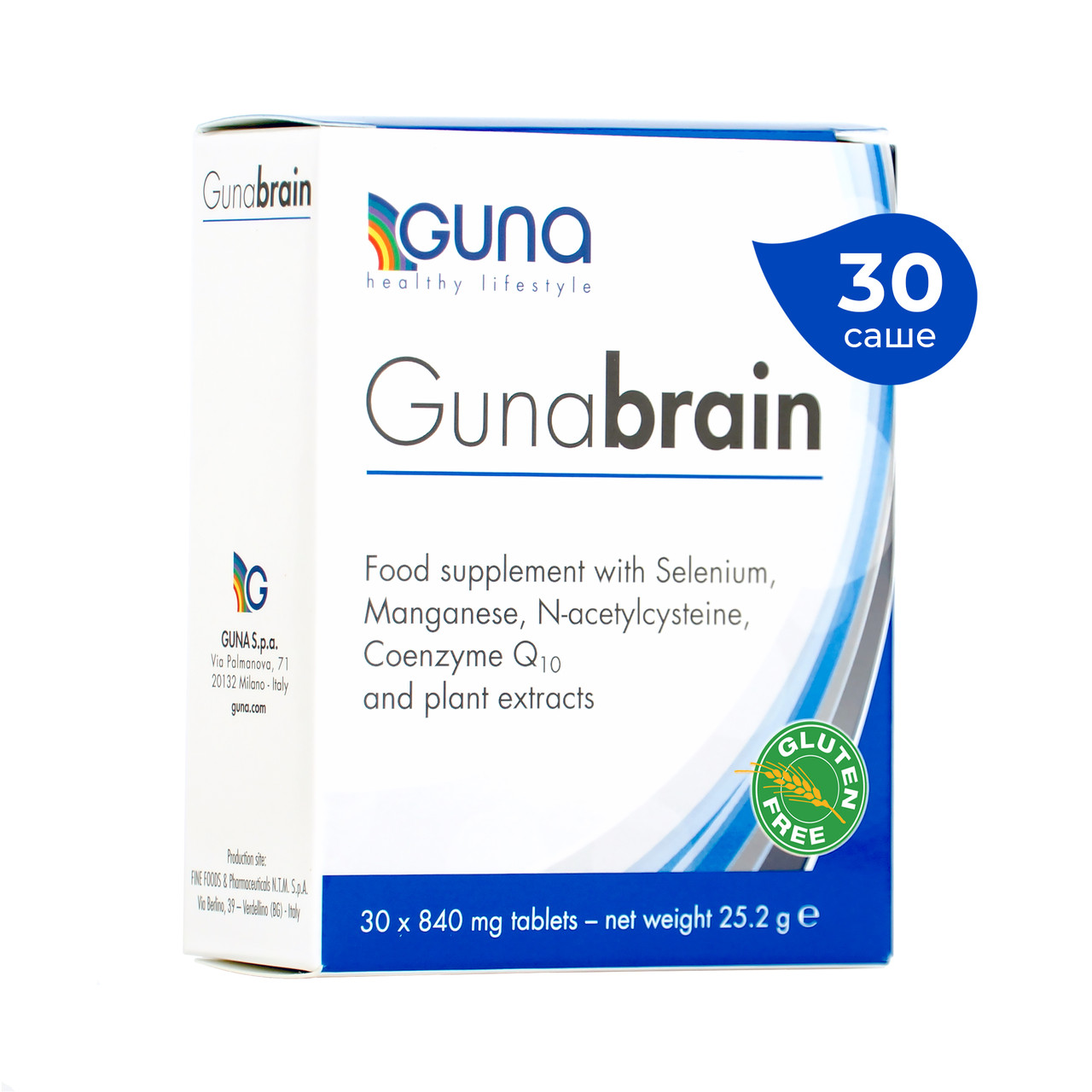 Gunabrain (GUNA, Италия). 30 таб, 25 г. 6 активных ингредиентов для хорошей работы мозга и памяти