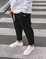 Штаны мужские зимние с начесом черные Тёплые мужские спортивные штаны на флисе утепленные (черный свободные)