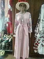 Красива довга рожева сукня з вишивкою 46 розміру