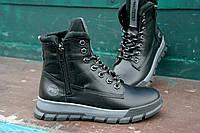 Подростковые кожаные зимние ботинки молния Підліткові шкіряні зимові черевик блискака липучка