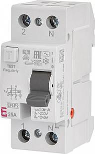 Диференціальне Реле (УЗО) EFI-2 25A ,IΔn 30mA, Icu-6kA, AC