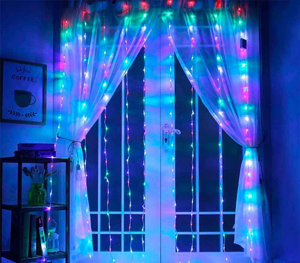 Гирлянда водопад на окно М-3 3х2 м. 336 Led, разноцветная гирлянда штора для дома (новорічна гірлянда)