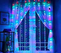 Гирлянда водопад на окно М-3 3х2 м. 336 Led, разноцветная гирлянда штора для дома (новорічна гірлянда), фото 1