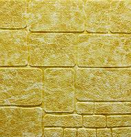 3D панель самоклеюча під декоративний камінь Самоклейка 3Д 70*70 см товщина 7 мм Мармур жовтий
