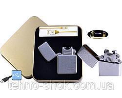 Електроімпульсна запальничка в металевій упаковці JIN LUN (USB) №4838-3