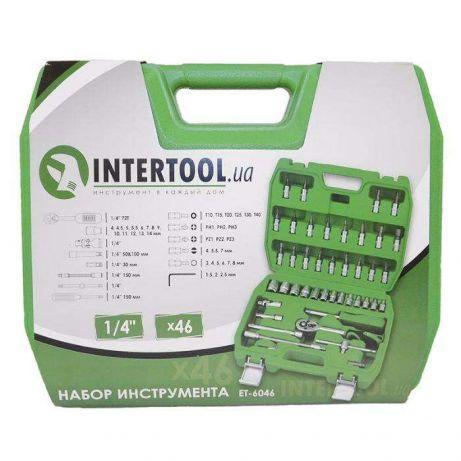 """Набір інструментів 46ед. 1/4"""" Intertool ET-6046 Набір інструментів Ключі,головки,тріскачка"""