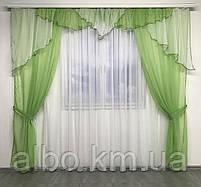 Портьєри у вітальню 150х270см (2 шт) з шифону з ламбрекеном ALBO зелені (LS295-8), фото 2