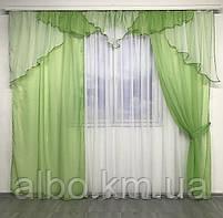 Портьєри у вітальню 150х270см (2 шт) з шифону з ламбрекеном ALBO зелені (LS295-8), фото 3