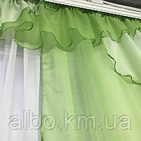 Портьєри у вітальню 150х270см (2 шт) з шифону з ламбрекеном ALBO зелені (LS295-8), фото 6