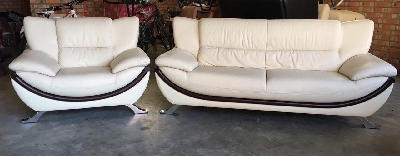 М'який шкіряний комплект дивана з кріслом