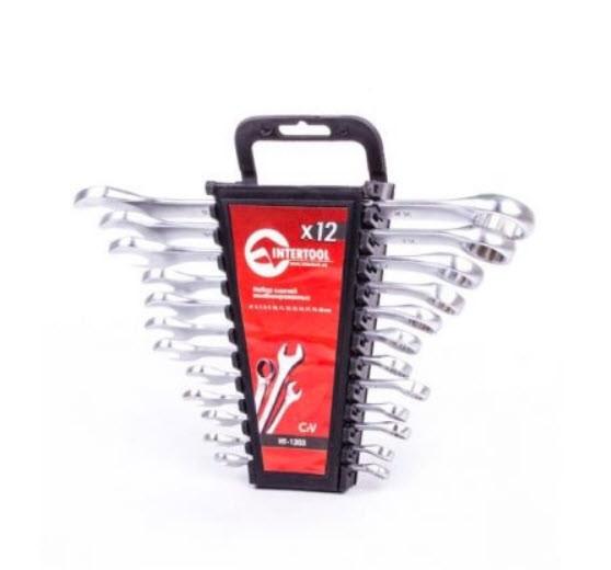 Набор ключей комбинированных 12 шт ., 6-22 мм. Cr-V Intertool HT-1203. Набір ключів 12 ел. Інтертул