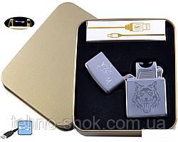 Електроімпульсна запальничка в металевій упаковці JIN LUN (USB) №4838-4