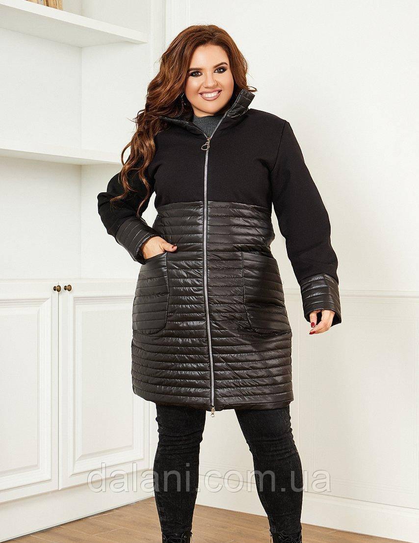 Женская черная куртка с комбинированными материалами батал