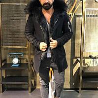 Черная зимняя парка мужская удлиненная стильная Мужские зимние куртки-парки на меху Турция длинная модная