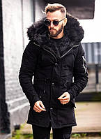 Парка черная зимняя мужская удлиненная стильная Мужские зимние куртки-парки на меху Турция длинная модная