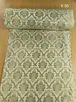 Портьерна тканина молочного кольору з зеленим вензелем, фото 1