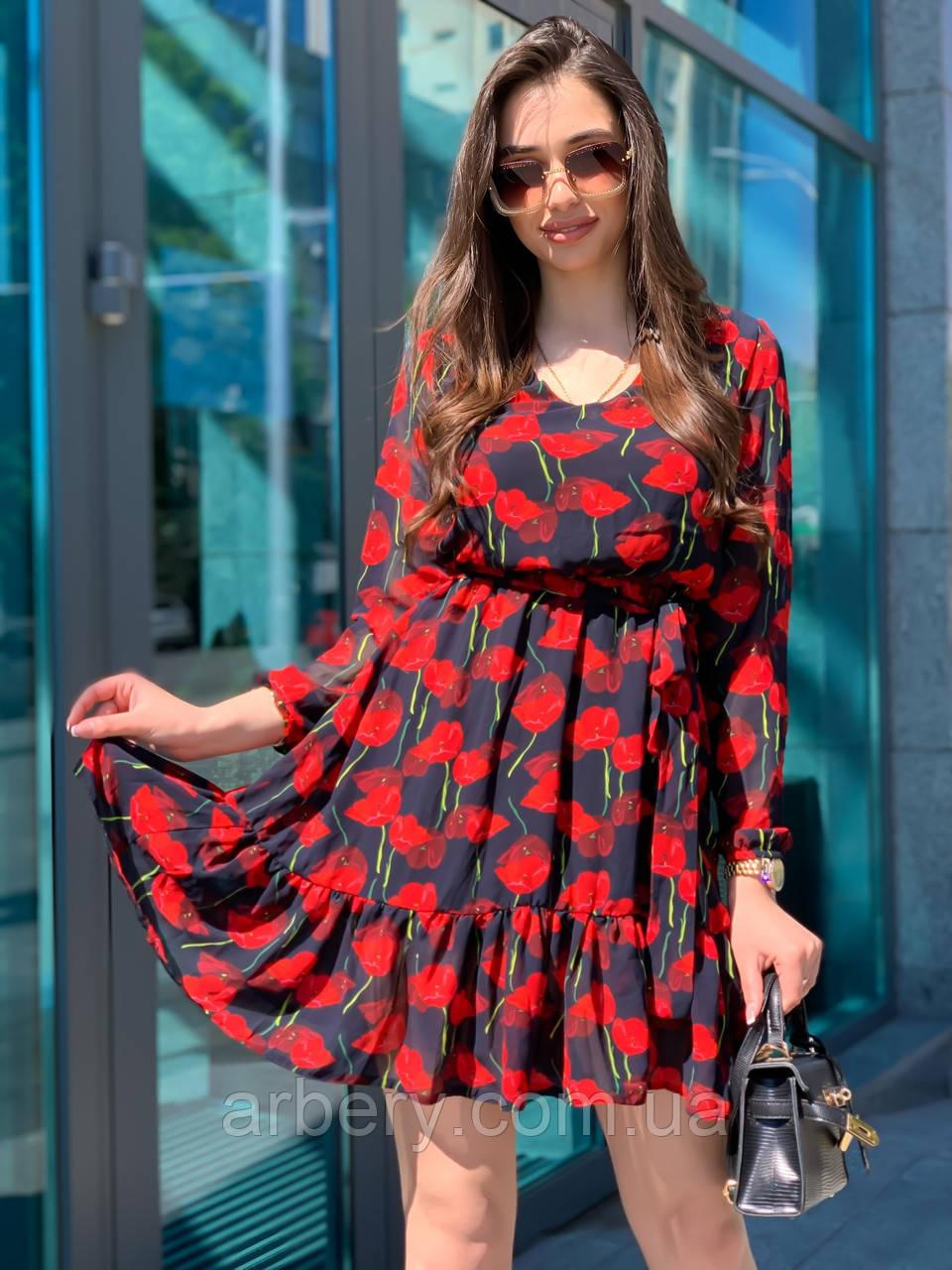 Шикарное шифоновое платье с цветами