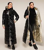 Черная длинная куртка лакированная женская зимняя