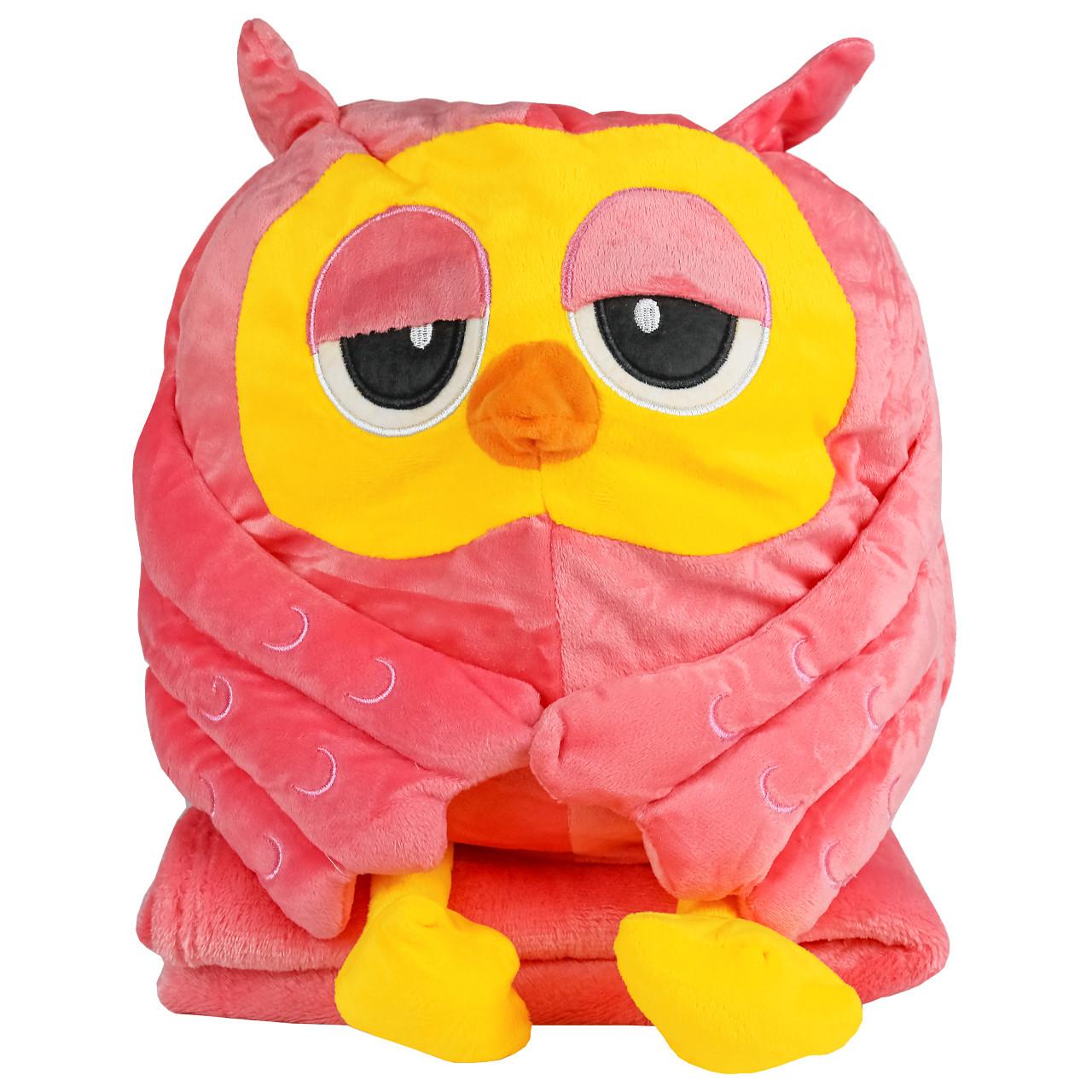 Подушка в авто игрушка плед, декоративная автомобильная подушка-плед розовая Сова