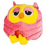 Подушка в авто игрушка плед, декоративная автомобильная подушка-плед розовая Сова, фото 3