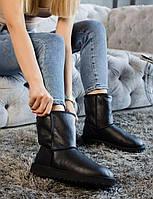 Стильні зимові УГГІ жіночі чорного кольору. Комфортна взуття утеплене хутром для дівчат UGG.
