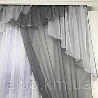 Ламбрекен в вітальню спальню дитячу, ламбрекен шифон на балкон кухню, портьєри для залу будинку спальні з жаккарда, штори з шифону, фото 4