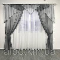 Ламбрекен в вітальню спальню дитячу, ламбрекен шифон на балкон кухню, портьєри для залу будинку спальні з жаккарда, штори з шифону, фото 2