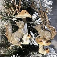 Елочные игрушки Белочка с грибочком, 2 вида, новогодние украшения