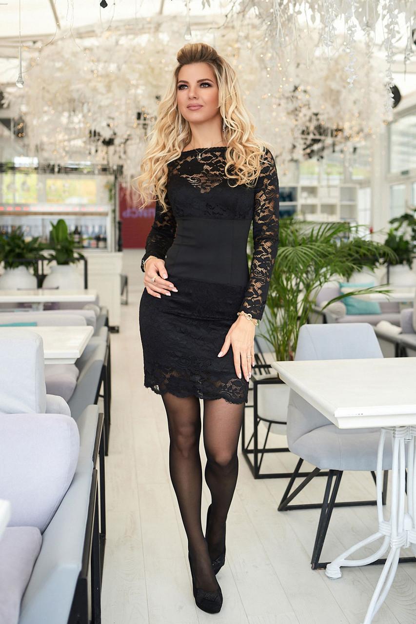 Черное гипюровое Платье