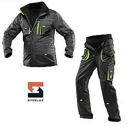 Костюм рабочий защитный утепленный SteelUZ 4S салатовые вставки Куртка+Брюки (спецодежда, флис)