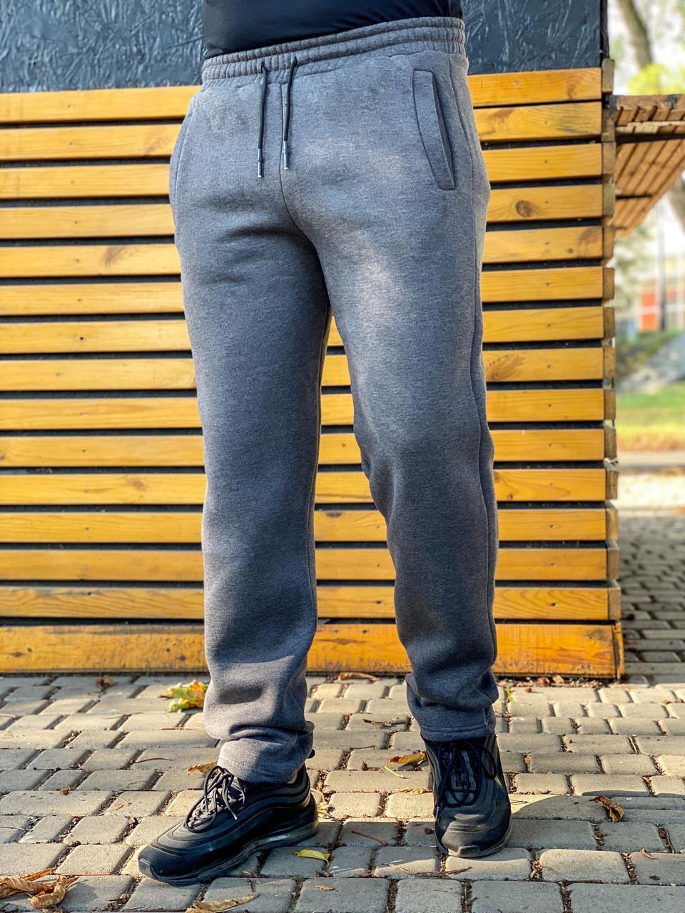 Теплые мужские спортивные штаны без манжета 905 серые 52