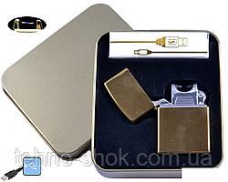 Електроімпульсна запальничка в металевій упаковці JIN LUN (USB) №4839-1