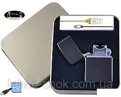 Електроімпульсна запальничка в металевій упаковці JIN LUN (USB) №4839-2