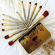 Профессиональный набор кистей для макияжа Gold в металлическом пенале Kylie Jenner 12 шт