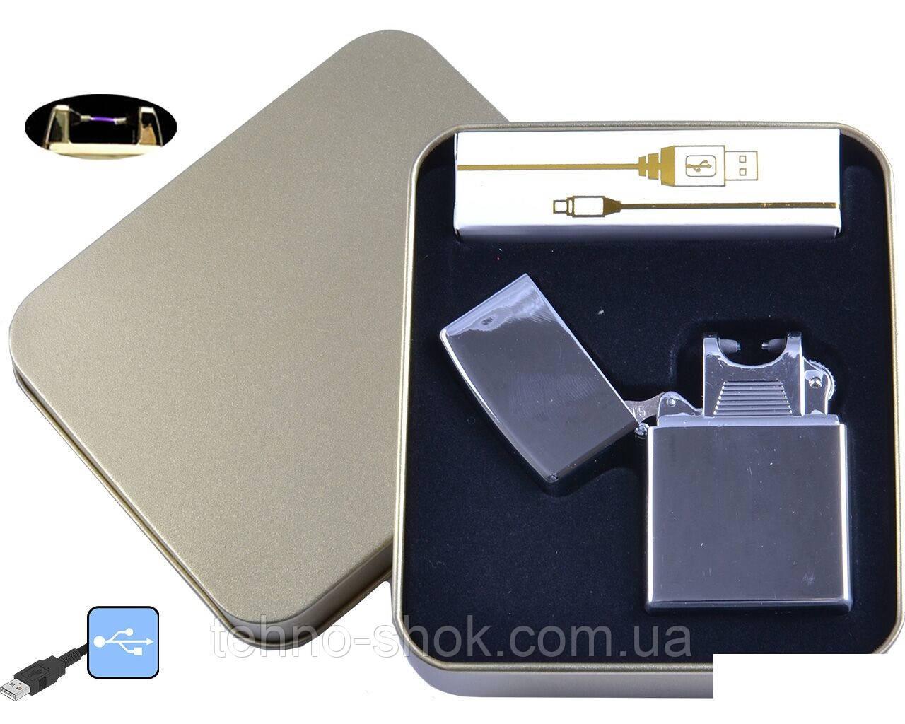 Электроимпульсная зажигалка в металлической упаковке JIN LUN (USB)