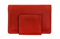 Женская кожаная визитница на магните женский кардхолдер из натуральной матовая кожа, красный GP 302160