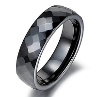 """Керамическое чёрное кольцо """"Грани"""", р. 16.5, 17.3, 18, 19"""