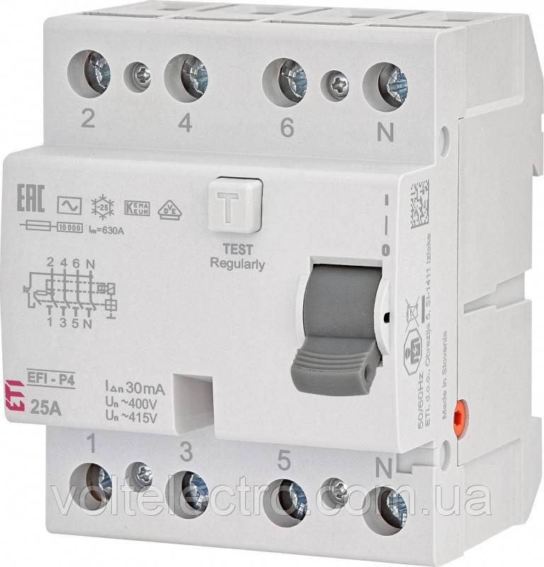 Реле дифференциальное (УЗО) EFI-P4 AC 25/0.3